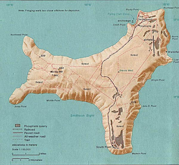 Large detailed relief and road map of Christmas Island.