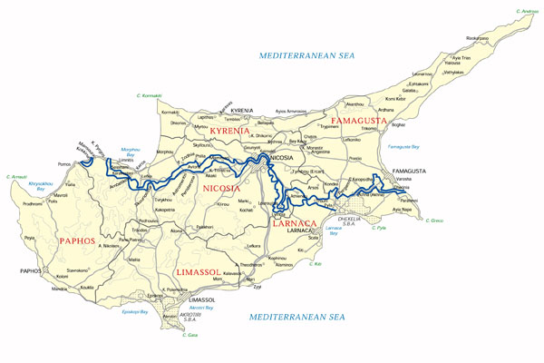 Big road and administrative map of Cyprus.