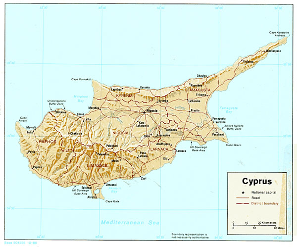 Detailed relief and administrative map of Cyprus.