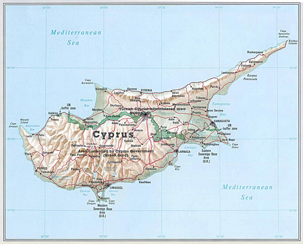 General map of Cyprus. Cyprus general map.