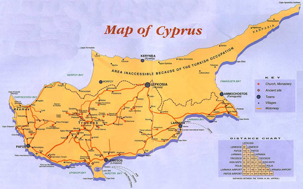 Guide map of Cyprus. Cyprus guide map.