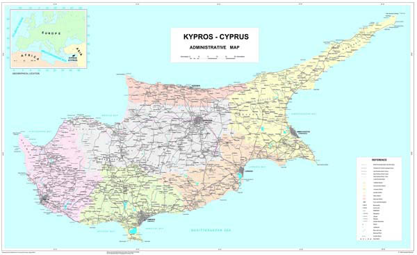 Large detailed road and administrative map of Cyprus with all cities and roads on the map.