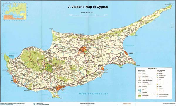 Large detailed road and tourist map of Cyprus.