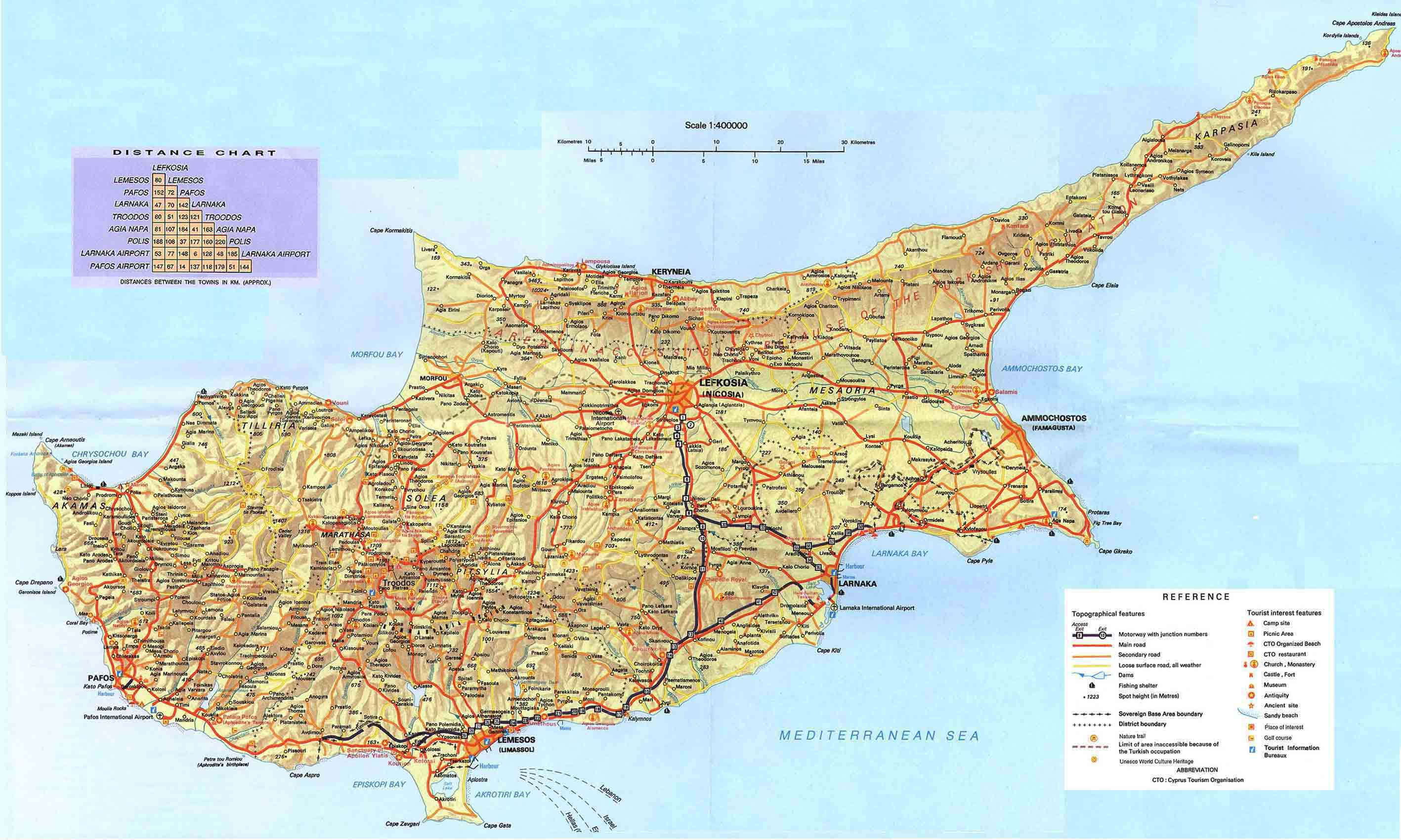 Large Detailed Road Map Of Cyprus Cyprus Large Detailed Road Map
