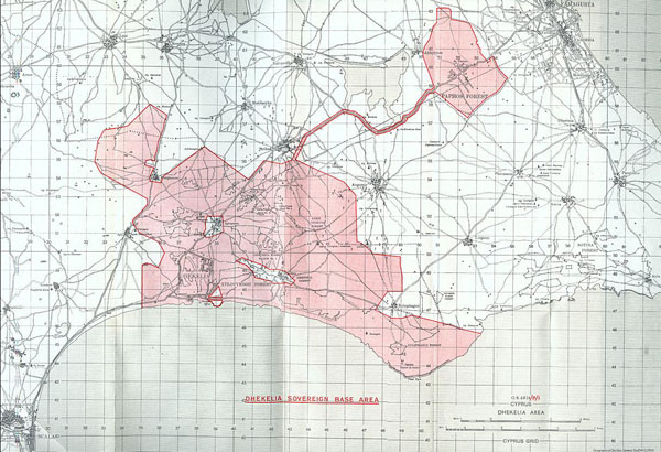 Dhekelia sovereign base area map. Dhekelia large detailed road map.