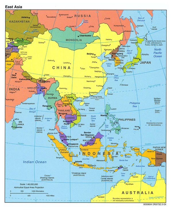 Detailed political map of East Asia - 2004.
