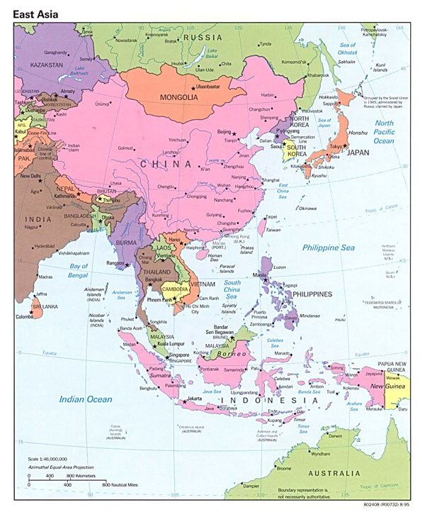 Detailed political map of East Asia with capitals - 1995.