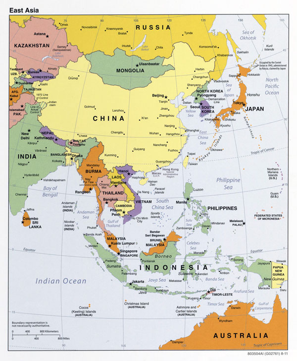 Large detailed political map of East Asia - 2011.