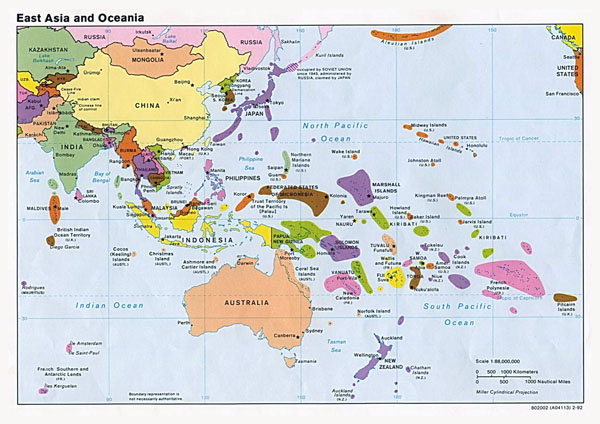 Large political map of East Aisa and Oceania with capitals - 1992.