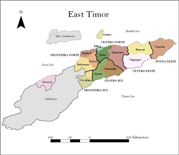 Administrative map of East Timor. East Timor administrative map.