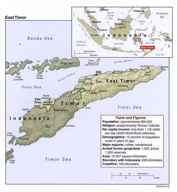 Detailed political map of East Timor. East Timor detailed political map.