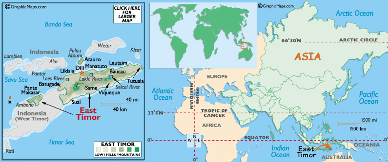 Full Political Map Of East Timor East Timor Full Political Map