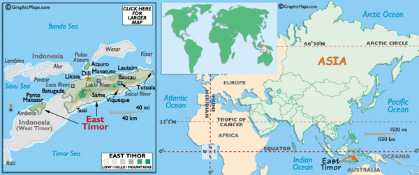 Full political map of East Timor. East Timor full political map.