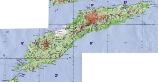 Large detailed topographical map of East Timor.