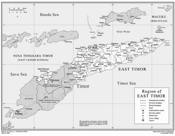 Political and administrative map of East Timor.