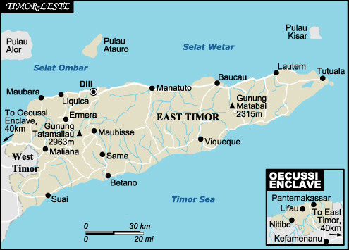Road Map Of East Timor East Timor Road Map Vidiani Com Maps