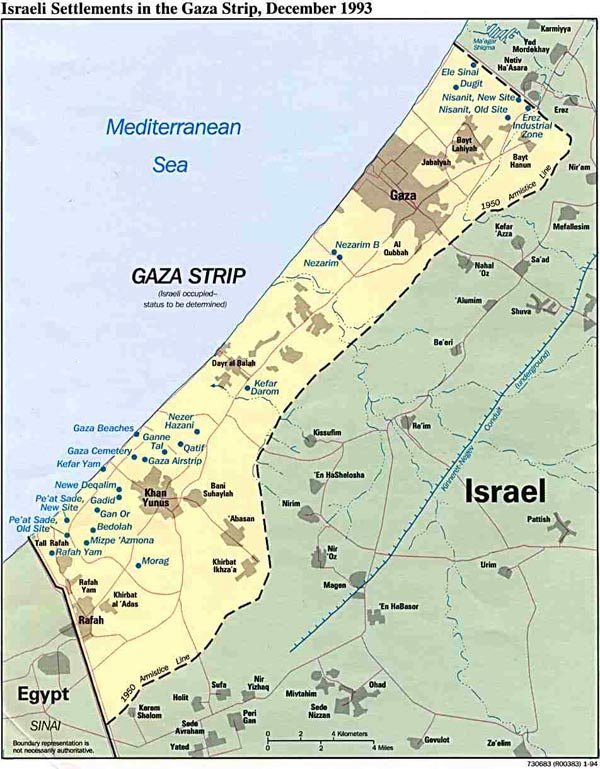 Detailed political map of Gaza Strip. Gaza Strip detailed political map.