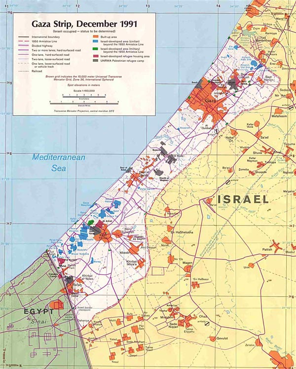 Detailed road map of Gaza Strip. Gaza Strip detailed road map.