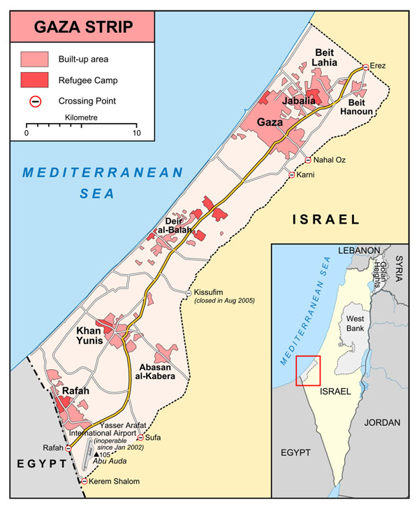 Large detailed Gaza Strip map.