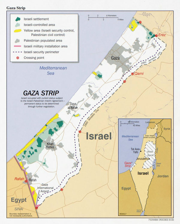 Large detailed map of Gaza Strip.