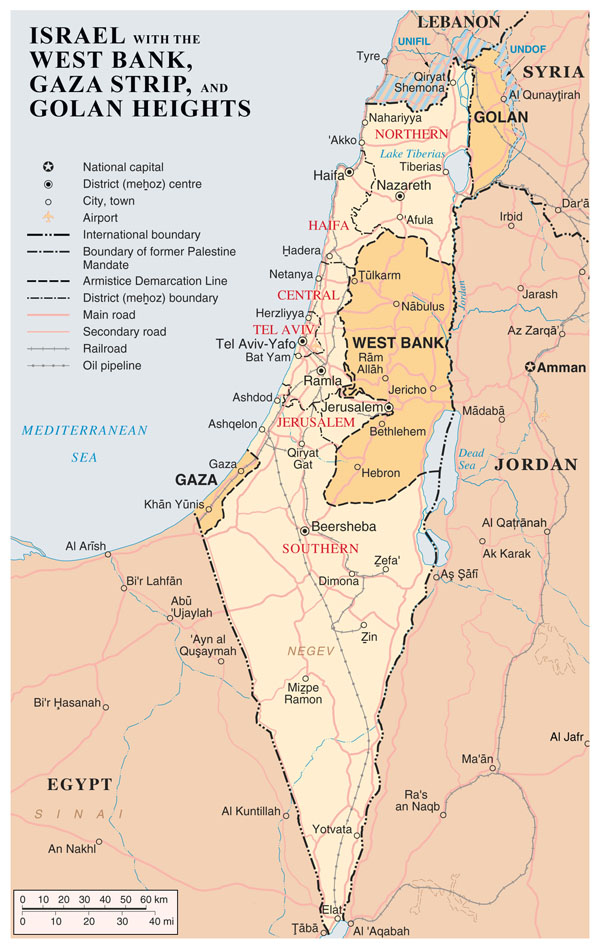 Large detailed map of Israel with the West Bank, Gaza Strip and Golgan Heights.