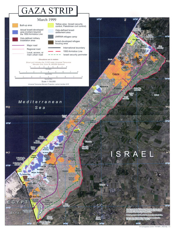 Large detailed satellite map of Gaza Strip with other marks.
