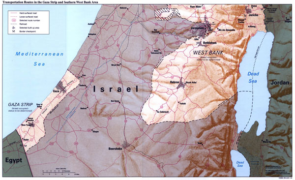 Large detailed transportation routes map of Gaza Strip and Southern West Bank Area with relief.