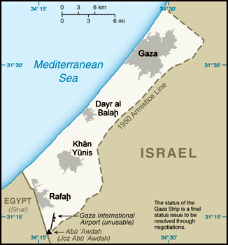 Small map of Gaza Strip. Gaza Strip small map.