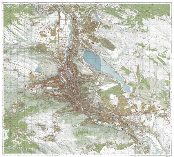 Large detailed topographical map of Tbilisi city.