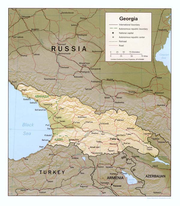Relief and political map of Georgia. Georgia relief and political map.