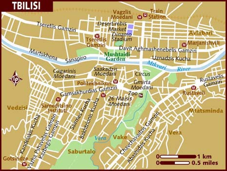 Road map of Tbilisi city. Tbilisi city road map.