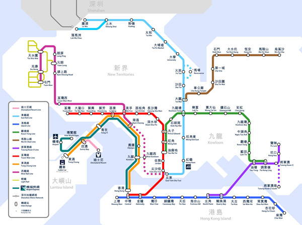 The MTR map of Hong Kong. Hong Kong the MTR map.