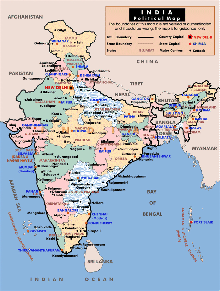Administrative Map Of India Vidiani: Maps Of All Countries At Slyspyder.com