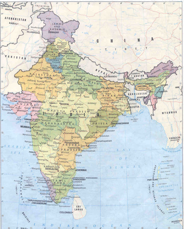 Detailed political and administrative map of India.