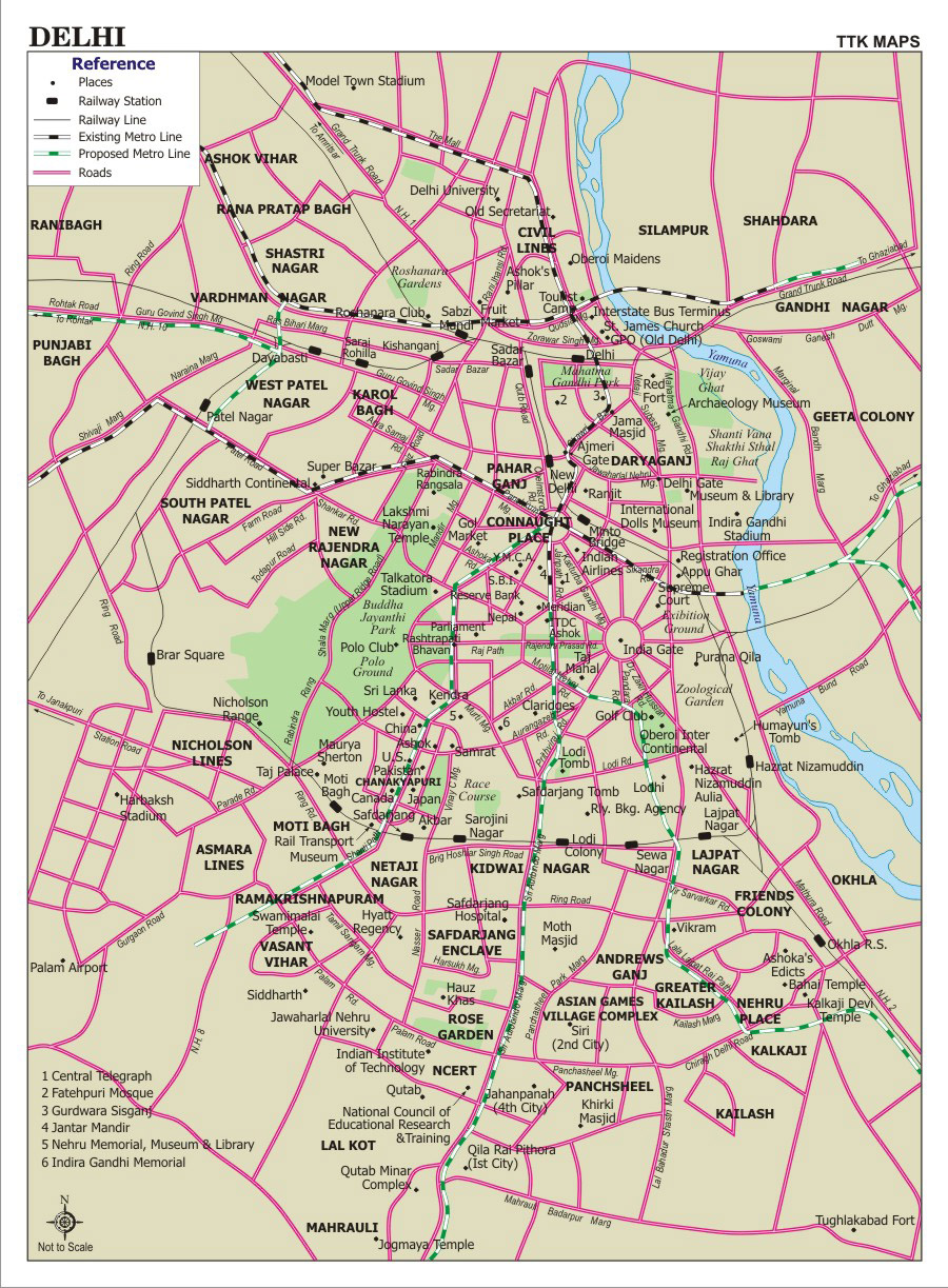 Detailed Road Map Of New Delhi City New Delhi City Detailed Road - Venezuela cities small scale map