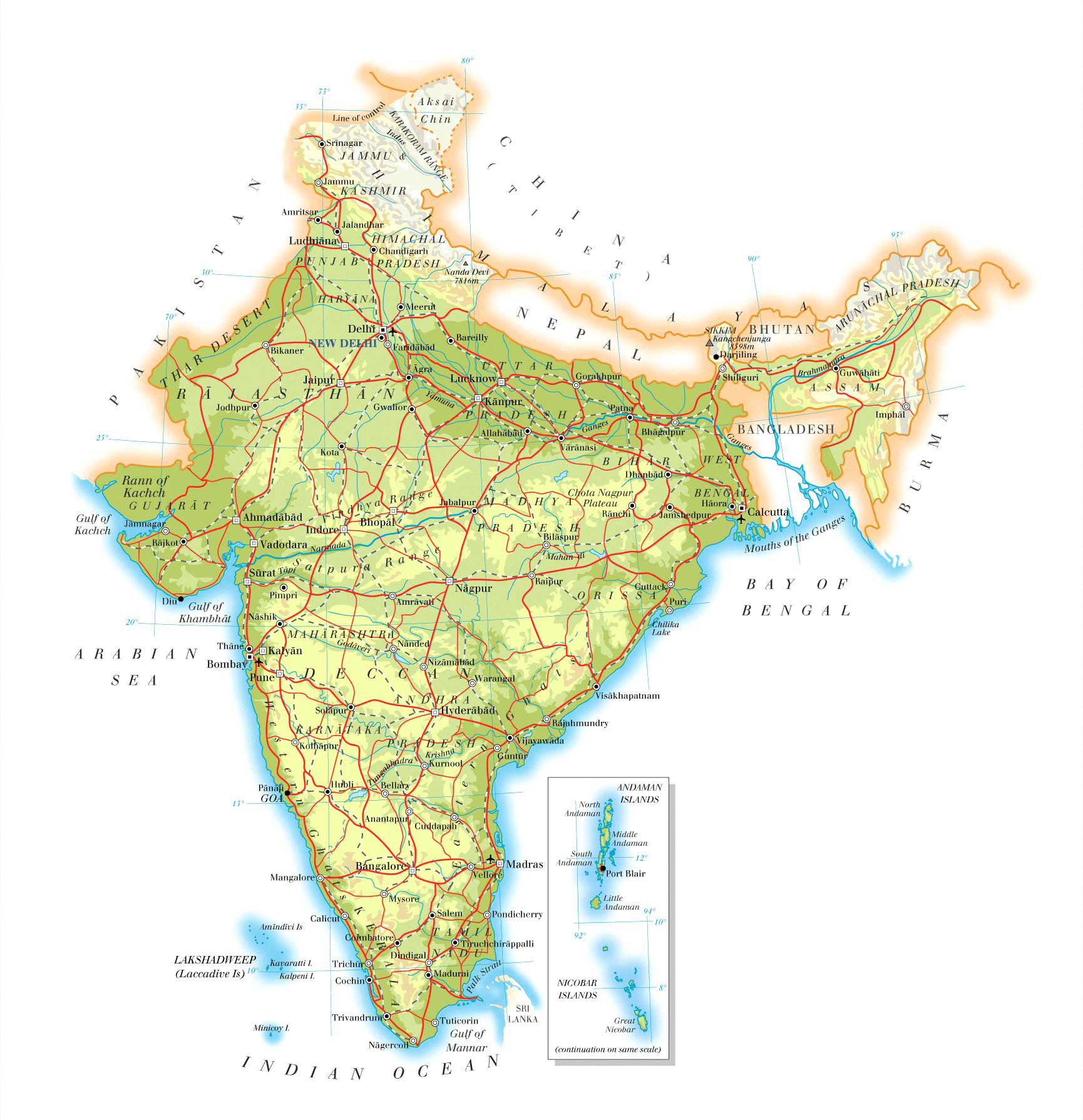 Detailed Road Map Of India India Detailed Road Map Vidiani Com