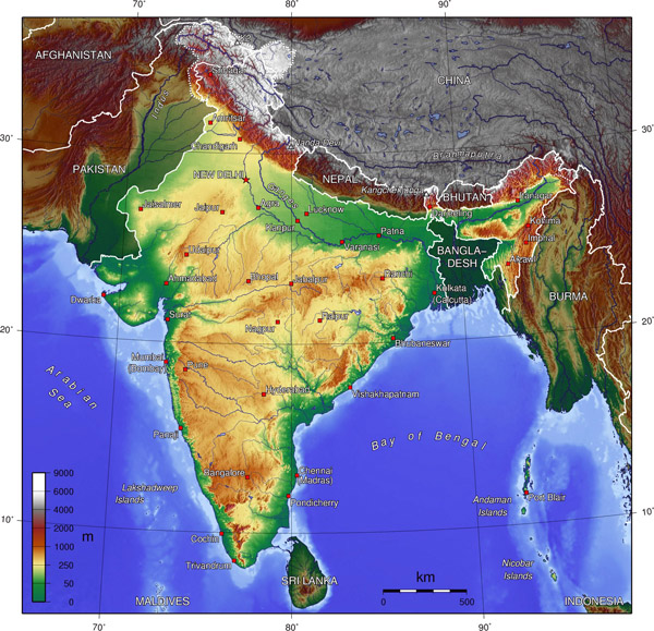 Detailed topographical map of India. India detailed topographical map.