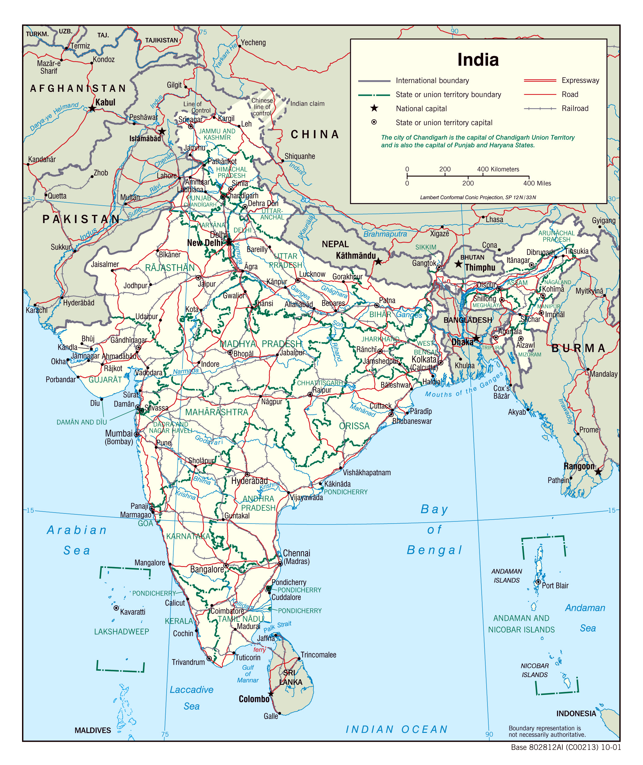 Large detailed political and administrative map of india with roads large detailed political and administrative map of india with roads and cities gumiabroncs Image collections