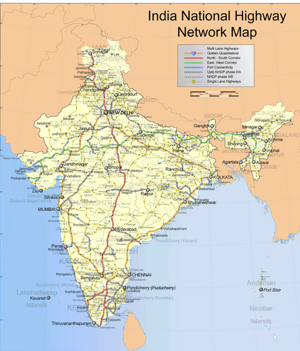 Large detailed road map of India. India large detailed road map.