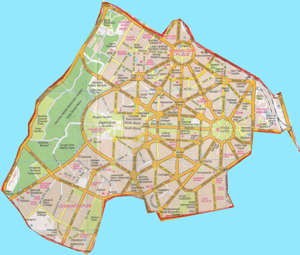 Map of New Delhi city. New Delhi city map.