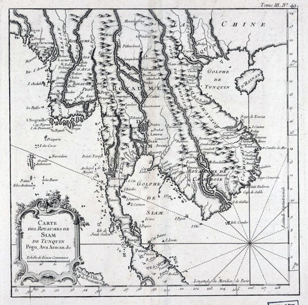 Detailed old map of Indochina in French - 1764.