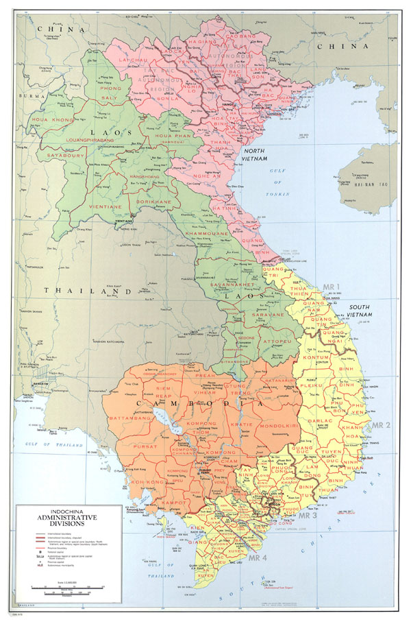 Large detailed administrative divisions map of Indochina - 1970.