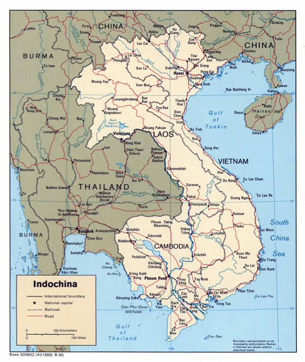 Large detailed political map of Indochina - 1985.