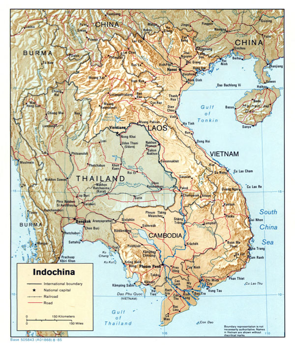 Large detailed political map of Indochina with relief - 1985.