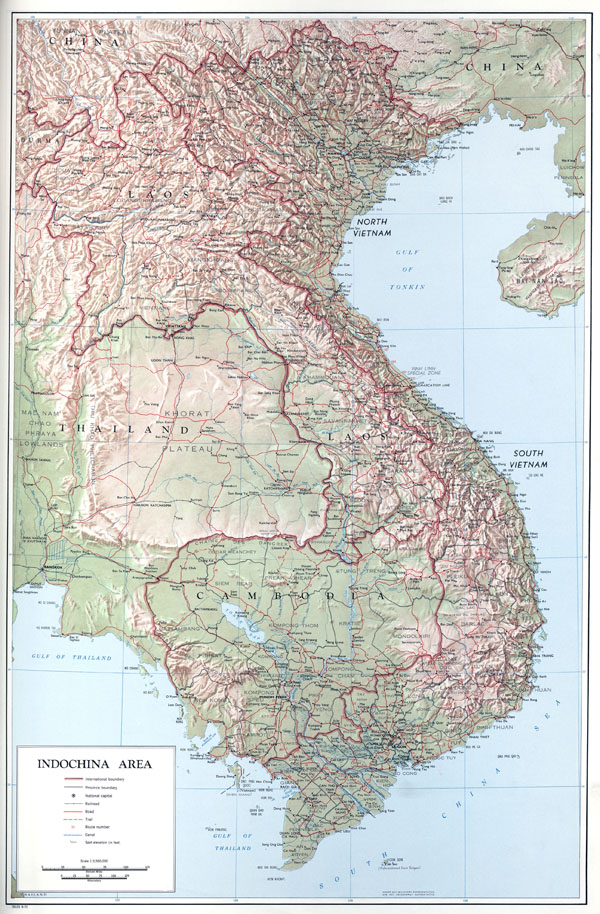 Large detailed political map of Indochina with relief, roads and cities - 1970.