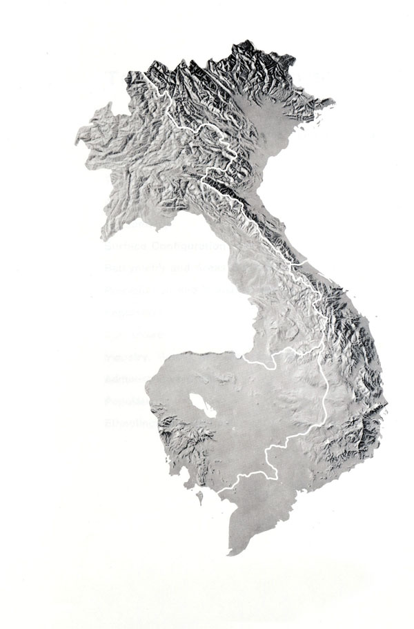 Large relief map of Indochina.