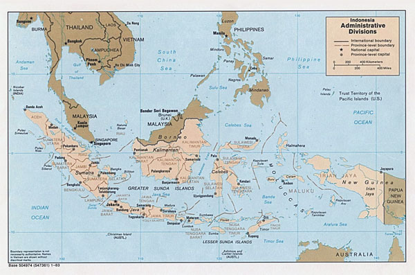 Administrative map of Indonesia. Indonesia administrative map.