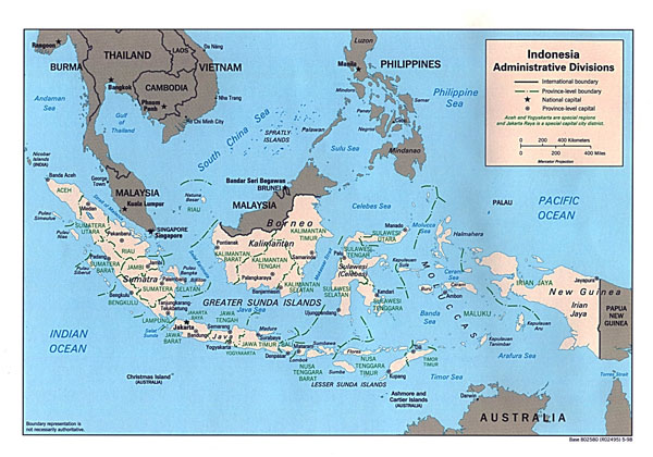 Detailed administrative map of Indonesia.