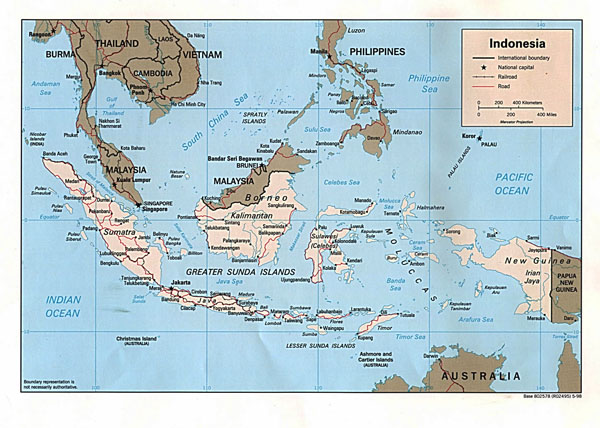Detailed political map of Indonesia. Indonesia detailed political map.