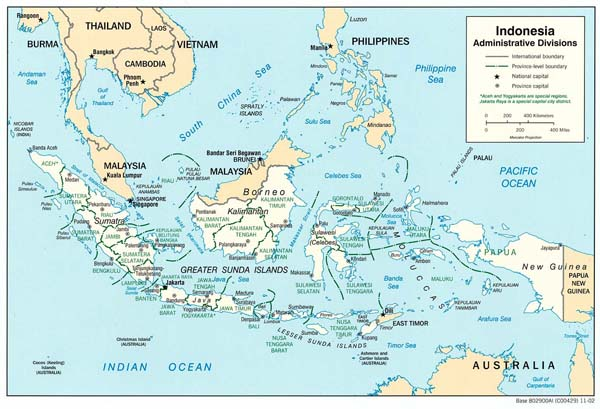 Large detailed administrative map of Indonesia.